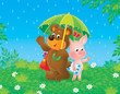 Bear-cub and piglet in the rain