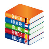 Foreign languages learning icon poster