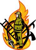 Fireman Firefighter axe ladder spear hook hose poster