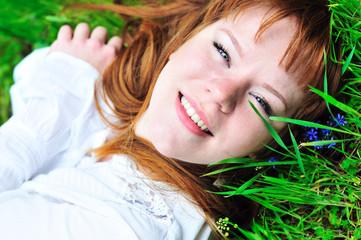 in green grass