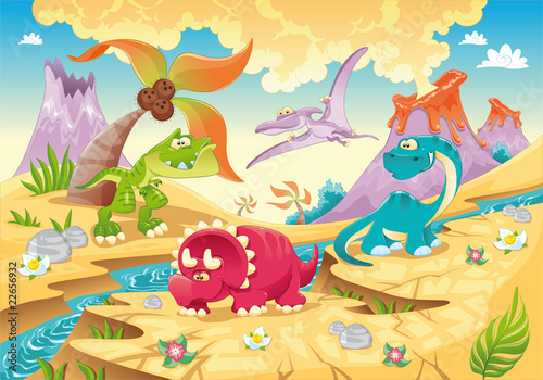 Foto op Canvas Dinosaurs Dinosaurs Family. Funny cartoon and vector characters