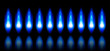 blue flames of a burning natural gas and reflection - vector