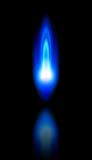 blue flame of a burning natural gas and reflection