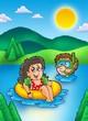 Detaily fotografie Dvě děti koupání v jezeře