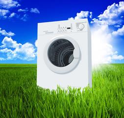 washing machine and green  field