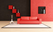 modern red and black living room