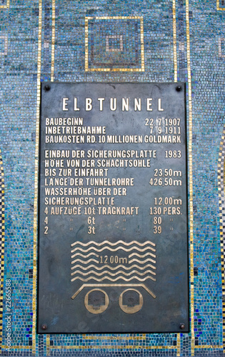 Alter Elbtunnel, Informationsschild, Hamburg