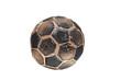 Burnt soccer ball isolated on white background