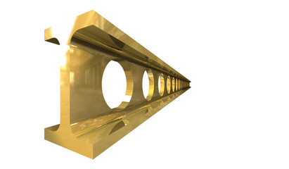 gold steel girder isolated on white background - 3d