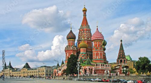 Leinwandbild Motiv Moskau - Basilius-Kathedrale mit Kaufhaus GUM