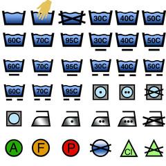 Iconos de cuidado textil