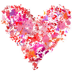 Heart shape paint spatter splatter painting abstract