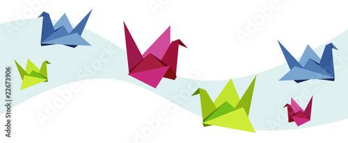 Foto op Canvas Geometrische dieren Group of various Origami swan