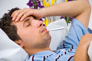 Close up of man with flu