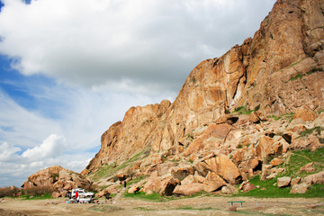 landscape  with crag, rock