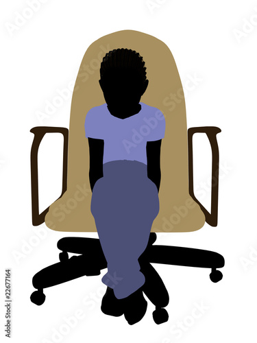 African American Boy Sitting On A Chair Illustration Silhouette