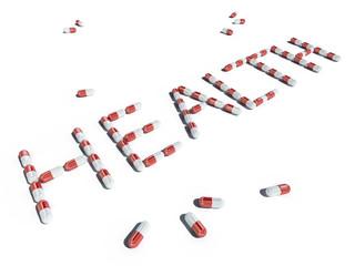 health pill text 3d cg