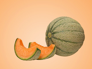melon and two segments isolated on  background