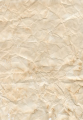 Texture of the old beige creasy paper