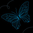 Background with blue butterfly, vector illustration