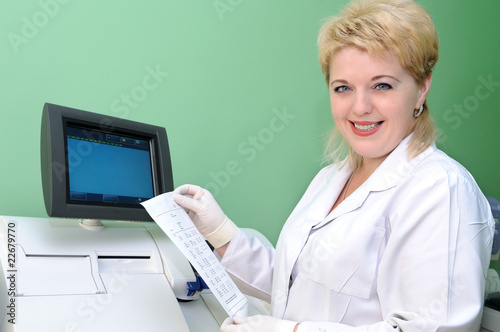 woman Scientist using medical equipment