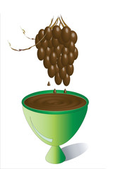 Vessel with chocolate and green grapes in the chocolate.