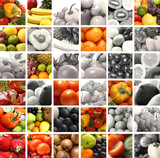 A collage of nutrition images with tasty fruits and vegetables poster