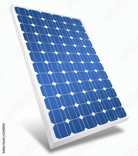 3d solar panel isolated on white
