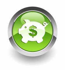 ''Money box with dollar symbol'' glossy icon