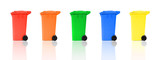 set of recycling bins with reflections