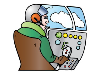 pilot operator with headset