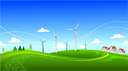Summer landscape with windmills