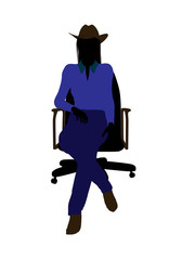 Cowgirl Sitting In A Chair Illustration Silhouette