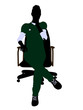 Female Doctor Sitting On A Chair Illustration Silhouette