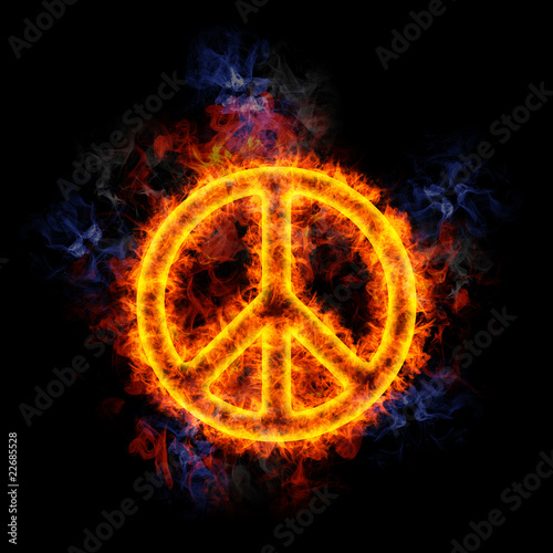 Fiery peace sign.