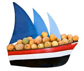 Ship with sail transportation  cargo melon.