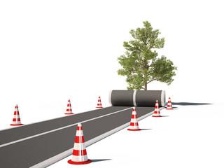 road traffic cones tree no way 3d cg