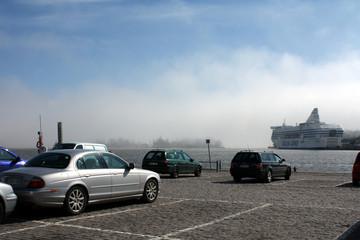 Ships in the fog  in Helsinki