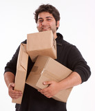 Man struggling with lots of parcels poster