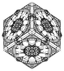 Abstract Hexagon Gothic Clock Watch Vector 05