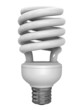 A render of an energy saver fluorescent lightbulb