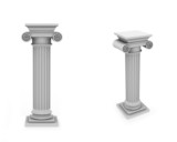 Marble columns frontal and diagonal view