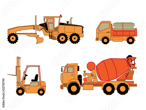 Motor grader, dump truck, lift truck and concrete mixer truck