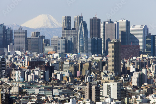 Poster 富士山と新宿高層ビル街
