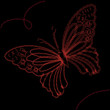 Background with red butterfly, vector illustration