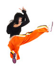 Woman dancer in complicated jump poster