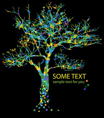 colorful tree and text