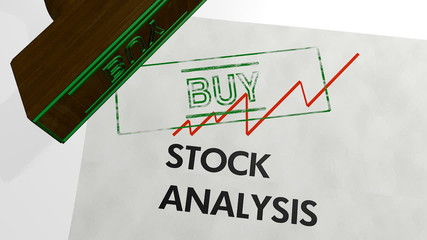 stock analysis - buy shares  now - 3d animation