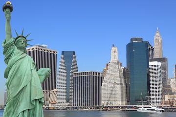The Statue of Liberty and Manhattan skyline, New York City