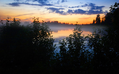 Foggy and misty evening after sunset